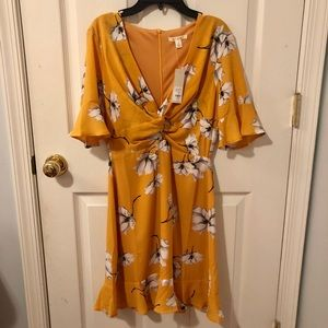 Francesca's gold floral ruffle dress